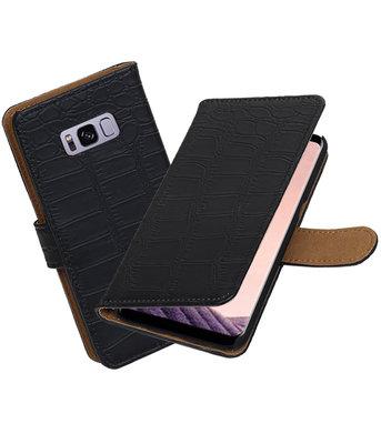 Hoesje voor Samsung Galaxy S8+ Plus Krokodil booktype Zwart