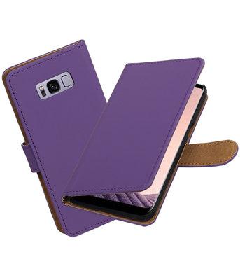 Hoesje voor Samsung Galaxy S8+ Plus Effen booktype Paars
