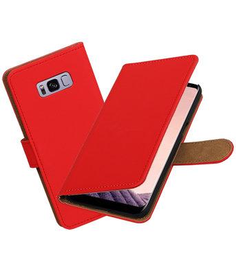 Hoesje voor Samsung Galaxy S8+ Plus Effen booktype Rood