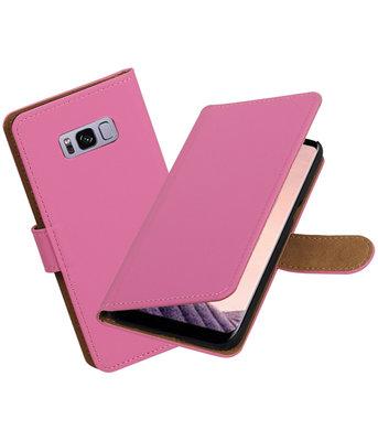 Hoesje voor Samsung Galaxy S8+ Plus Effen booktype Roze
