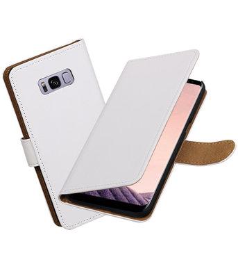 Hoesje voor Samsung Galaxy S8+ Plus Effen booktype Wit