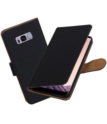 Hoesje voor Samsung Galaxy S8+ Plus Effen booktype Zwart