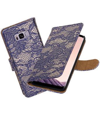 Hoesje voor Samsung Galaxy S8+ Plus Lace booktype Blauw