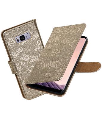 Hoesje voor Samsung Galaxy S8+ Plus Lace booktype Goud