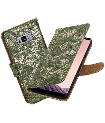 Hoesje voor Samsung Galaxy S8+ Plus Lace booktype Donker Groen