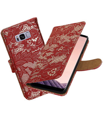Hoesje voor Samsung Galaxy S8+ Plus Lace booktype Rood