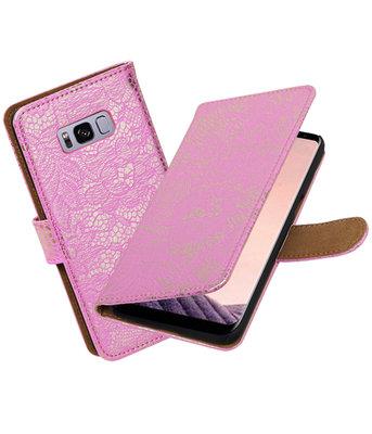 Hoesje voor Samsung Galaxy S8+ Plus Lace booktype Roze