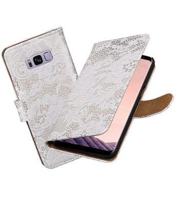 Hoesje voor Samsung Galaxy S8+ Plus Lace booktype Wit