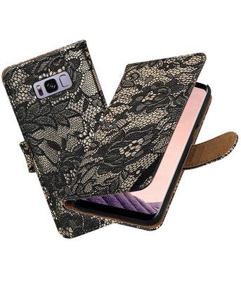 Hoesje voor Samsung Galaxy S8+ Plus Lace booktype Zwart