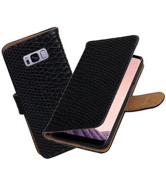 Hoesje voor Samsung Galaxy S8+ Plus Slang booktype Zwart