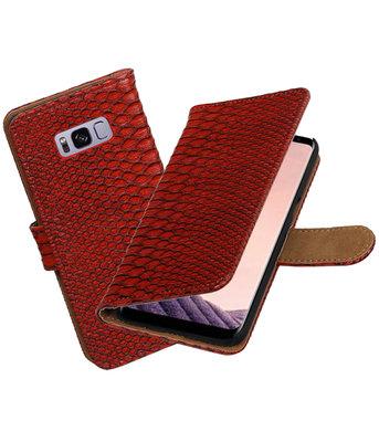 Hoesje voor Samsung Galaxy S8+ Plus Slang booktype Rood