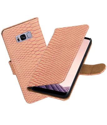 Hoesje voor Samsung Galaxy S8+ Plus Slang booktype Roze