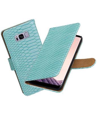 Hoesje voor Samsung Galaxy S8+ Plus Slang booktype Turquoise