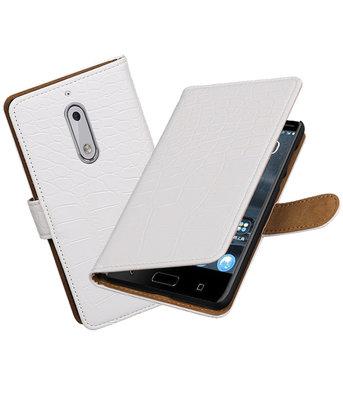 Hoesje voor Nokia 5 Krokodil booktype Wit