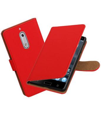 Hoesje voor Nokia 5 Effen booktype Rood
