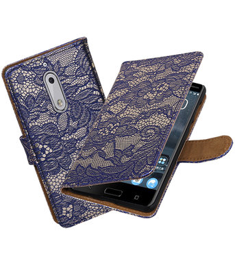 Nokia 5 Lace booktype hoesje Blauw
