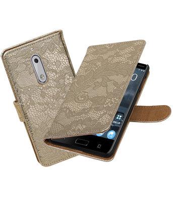 Hoesje voor Nokia 5 Lace booktype Goud