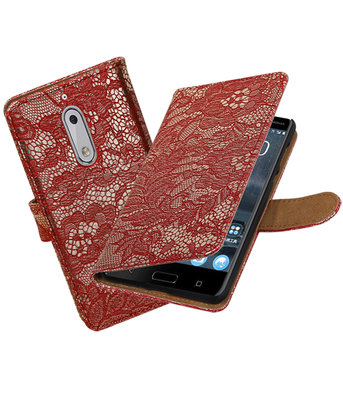 Nokia 5 Lace booktype hoesje Rood