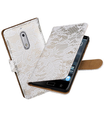 Nokia 5 Lace booktype hoesje Wit