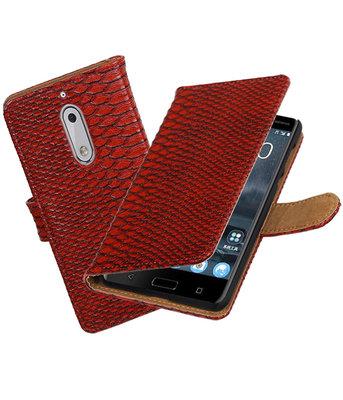 Hoesje voor Nokia 5 Slang booktype Rood