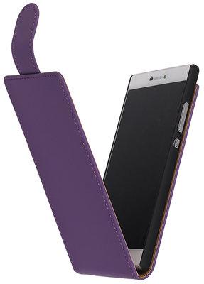 Hoesje voor HTC One M7 Effen Classic Flip Paars