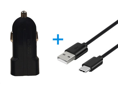 Type C USB Telefoon Autolader en Kabel Zwart