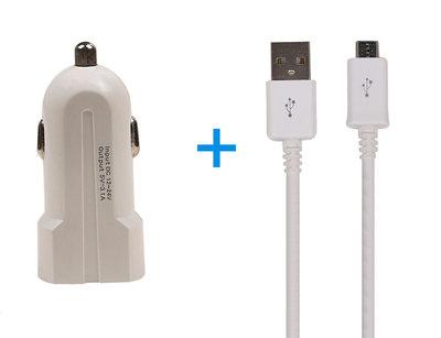Micro USB Telefoon Autolader en Kabel Wit