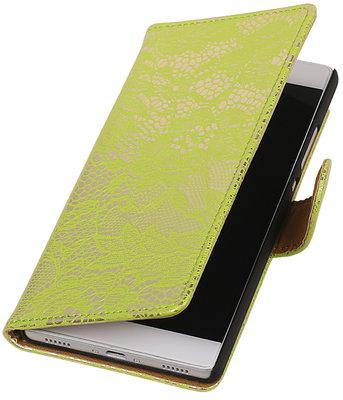 Hoesje voor Huawei Ascend G7 Lace booktype Groen