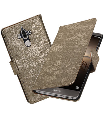 Hoesje voor Huawei Mate 9 Lace booktype Goud