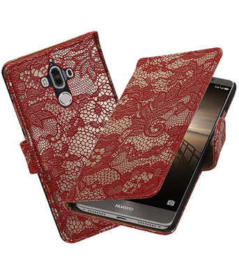 Hoesje voor Huawei Mate 9 Lace booktype Rood