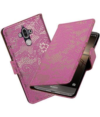 Hoesje voor Huawei Mate 9 Lace booktype Roze