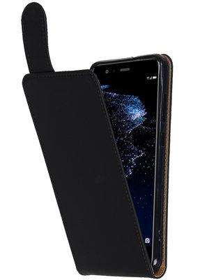 Hoesje voor Huawei P10 Lite Effen Classic TPU flip Zwart