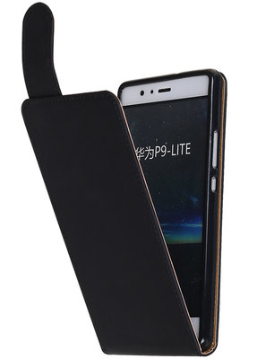 Hoesje voor Huawei P9 Lite Effen Classic TPU flip Zwart