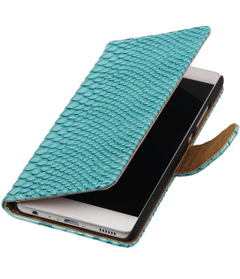Hoesje voor Huawei Ascend G730 Slang booktype Turquoise