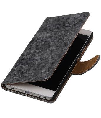 Hoesje voor Huawei Ascend Mate 7 Mini Slang booktype Grijs