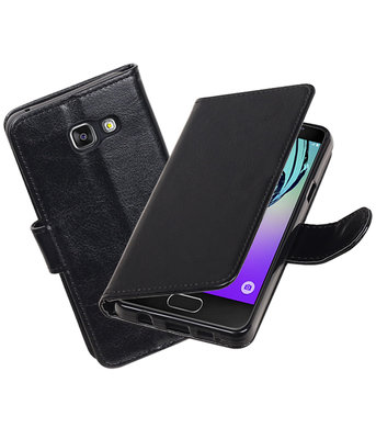Zwart Portemonnee booktype Hoesje voor Samsung Galaxy A3 2016 A310