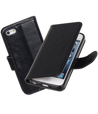 Zwart Portemonnee booktype hoesje Apple iPhone 5 / 5s / SE