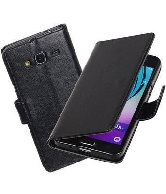 Zwart Portemonnee booktype Hoesje voor Samsung Galaxy J3 2016