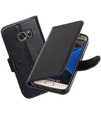 Zwart Portemonnee booktype hoesje Samsung Galaxy S7 G930F