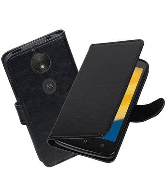 Zwart Portemonnee booktype Hoesje voor Motorola Moto C Plus