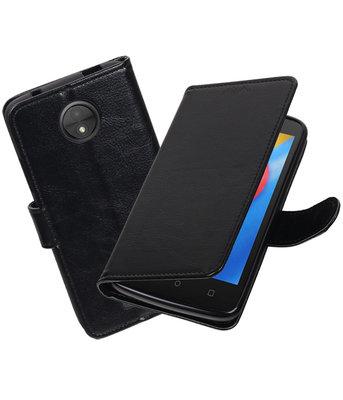 Zwart Portemonnee booktype Hoesje voor Motorola Moto C