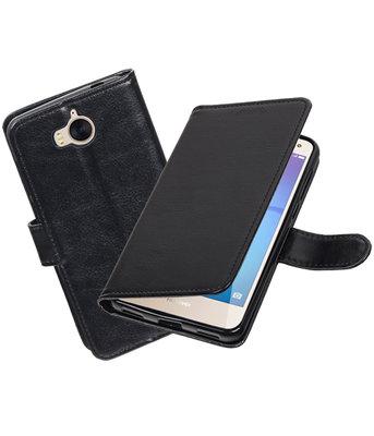 Zwart Portemonnee booktype hoesje Huawei Y5 2017 / Y6 2017
