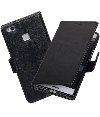 Zwart Portemonnee booktype Hoesje voor Huawei P9 Lite