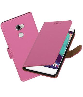 Hoesje voor HTC One X10 Effen booktype Roze