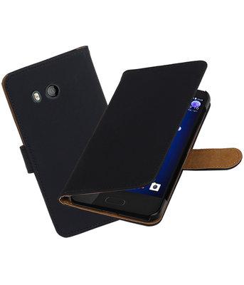 Hoesje voor HTC U11 Effen booktype Zwart