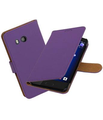 Hoesje voor HTC U11 Effen booktype Paars