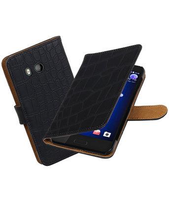 Hoesje voor HTC U11 Krokodil booktype Zwart