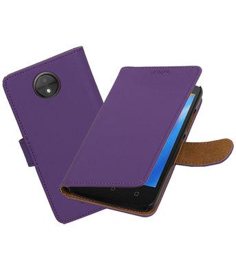 Hoesje voor Motorola Moto C Effen booktype Paars