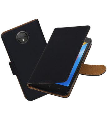 Hoesje voor Motorola Moto C Effen booktype Zwart