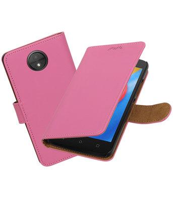 Hoesje voor Motorola Moto C Effen booktype Roze